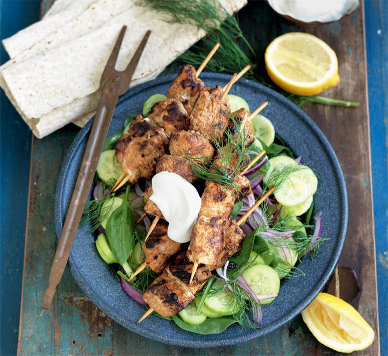 Chicken Shawarma With Cucumber And Dill Salad Recipe Yummy For