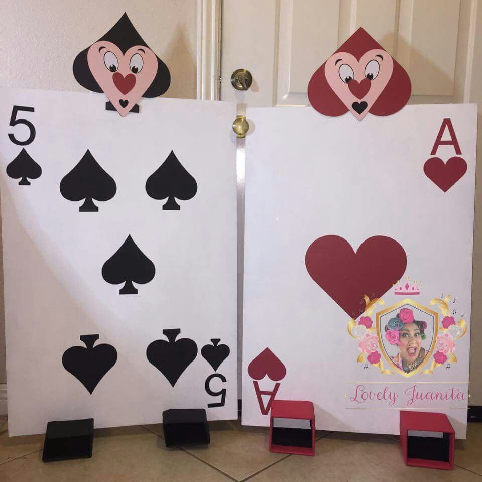 Alice In Wonderland Playing Card Guards Made With Cricut Wonderland Party Decorations Alice In Wonderland Party Alice In Wonderland Birthday