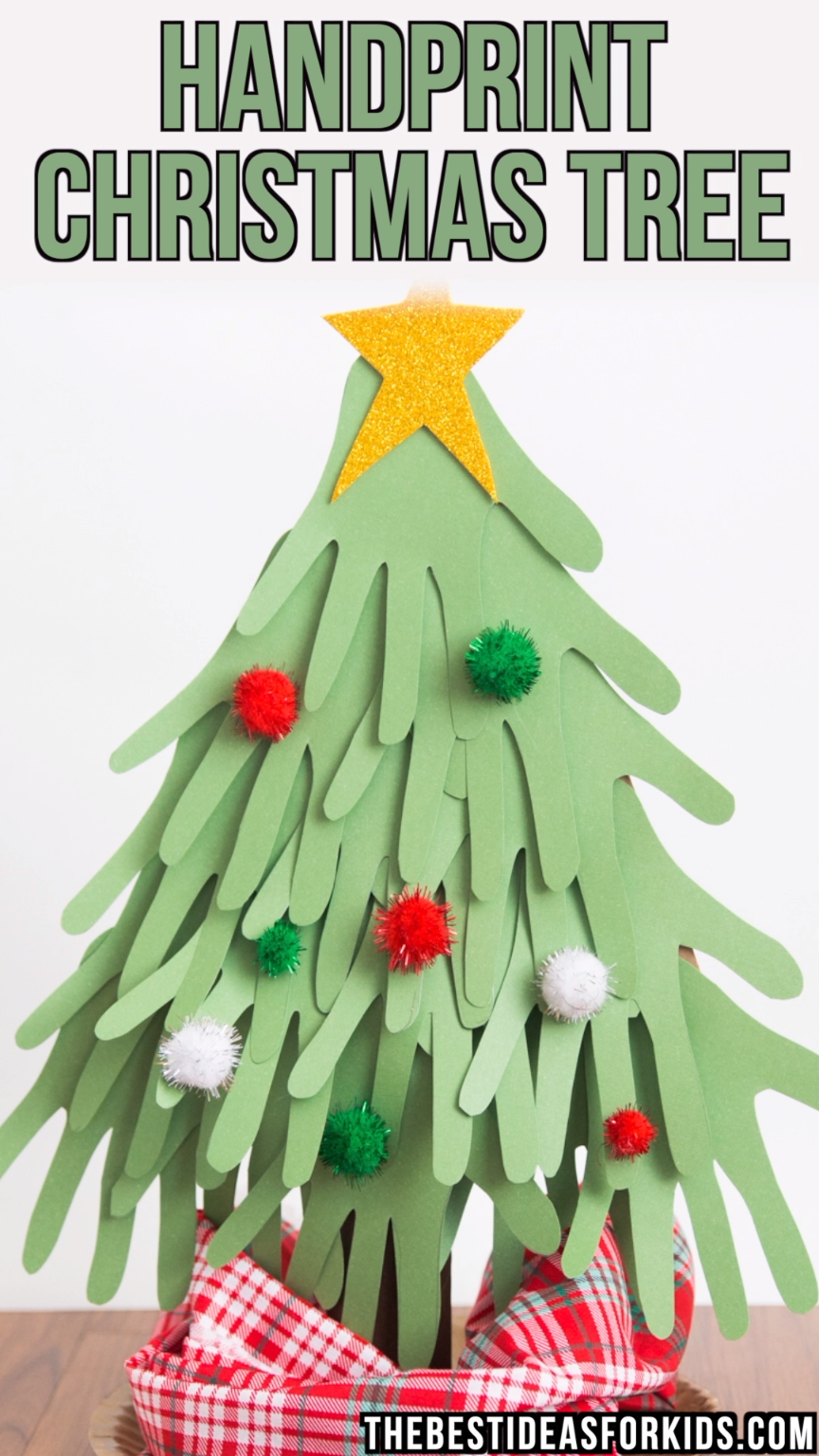 HANDPRINT CHRISTMAS TREE - this handprint christmas tree is so cute to make with a class or a group of kids! You can even make it for a table center for Christmas. Kids will love tracing their hands to turn it into a Christmas tree. Such a fun Christmas craft for kids!  #bestideasforkids #kidscrafts #christmas #christmascrafts #kidsactivities #papercrafts #diy #crafts #christmasforkids #kids #craftsforkids