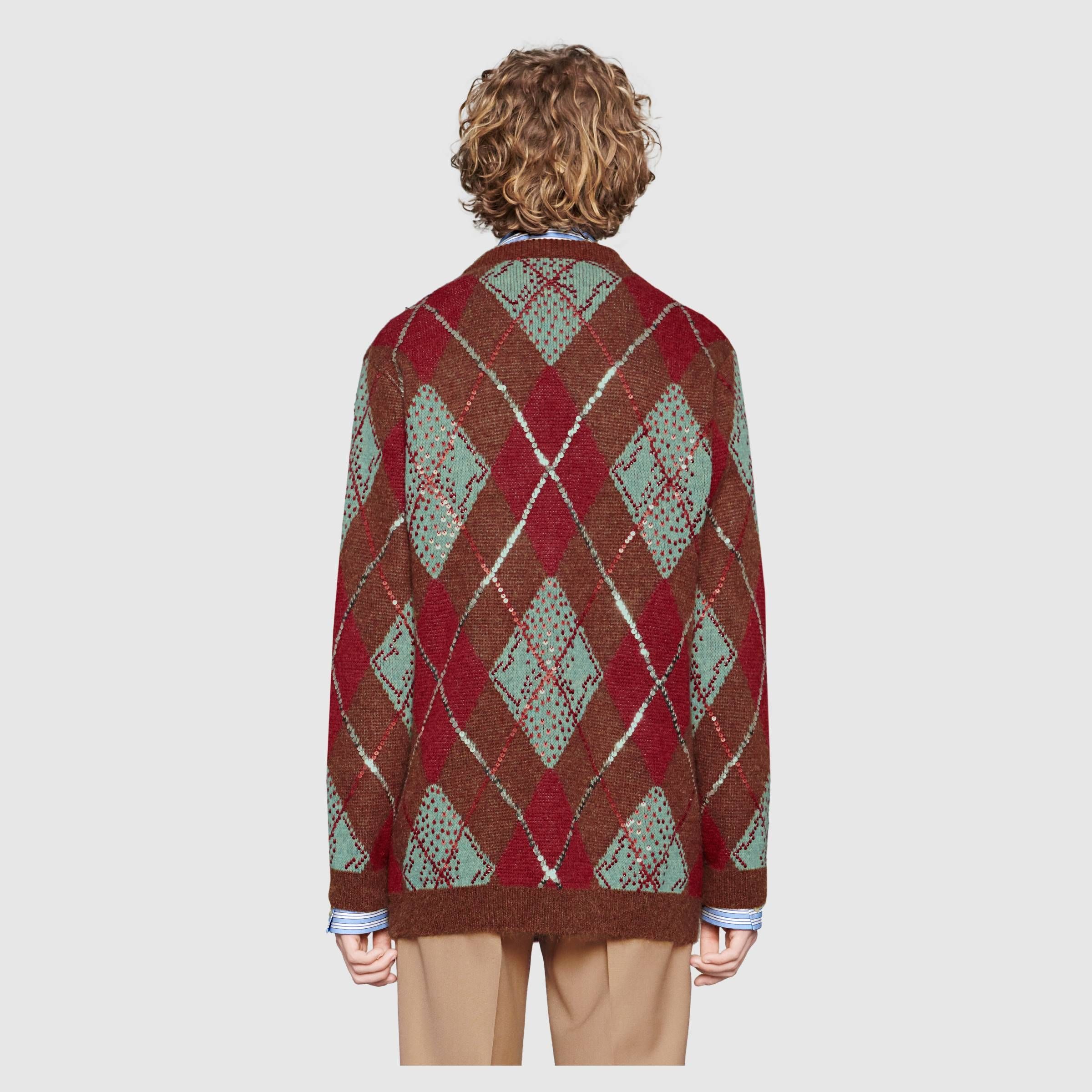 """8d88aab3105 GUCCI"""" 2018 FW runway, Oversize argyle cardigan #Brown, blue and red alpaca"""