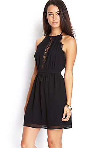 d7e0ec5abd Open-Back Lace Halter Dress Forever 21  24.80. Super cute with a very low  cut back that s bordered with lace