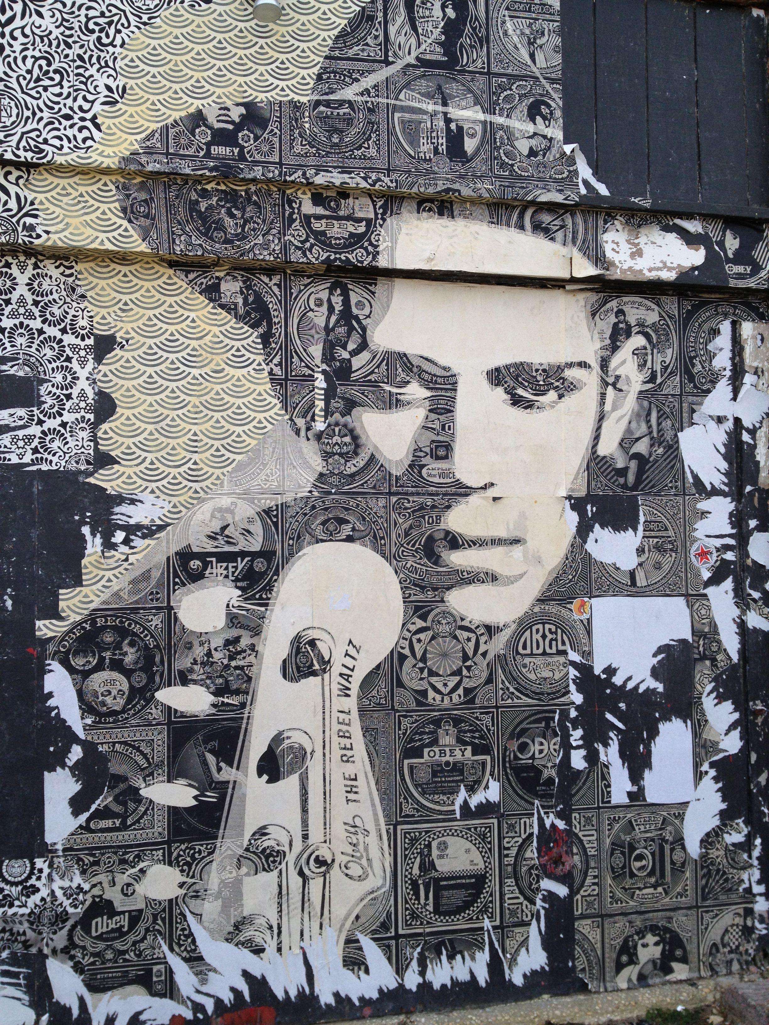 Street art, male, hat, man, surreal, instrument, wall, beautiful, photo.