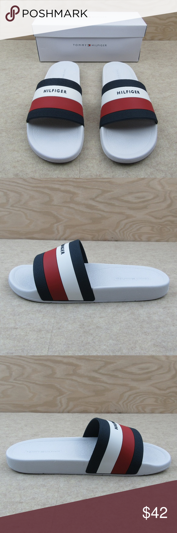 6ed7b5de7cc Tommy Hilfiger Men s Earthy Slides Sandals Size 12 Tommy Hilfiger Men s Earthy  Slides Sandals White Style - Slides Men s Size 12 Brand NEW with Box Makes  a ...