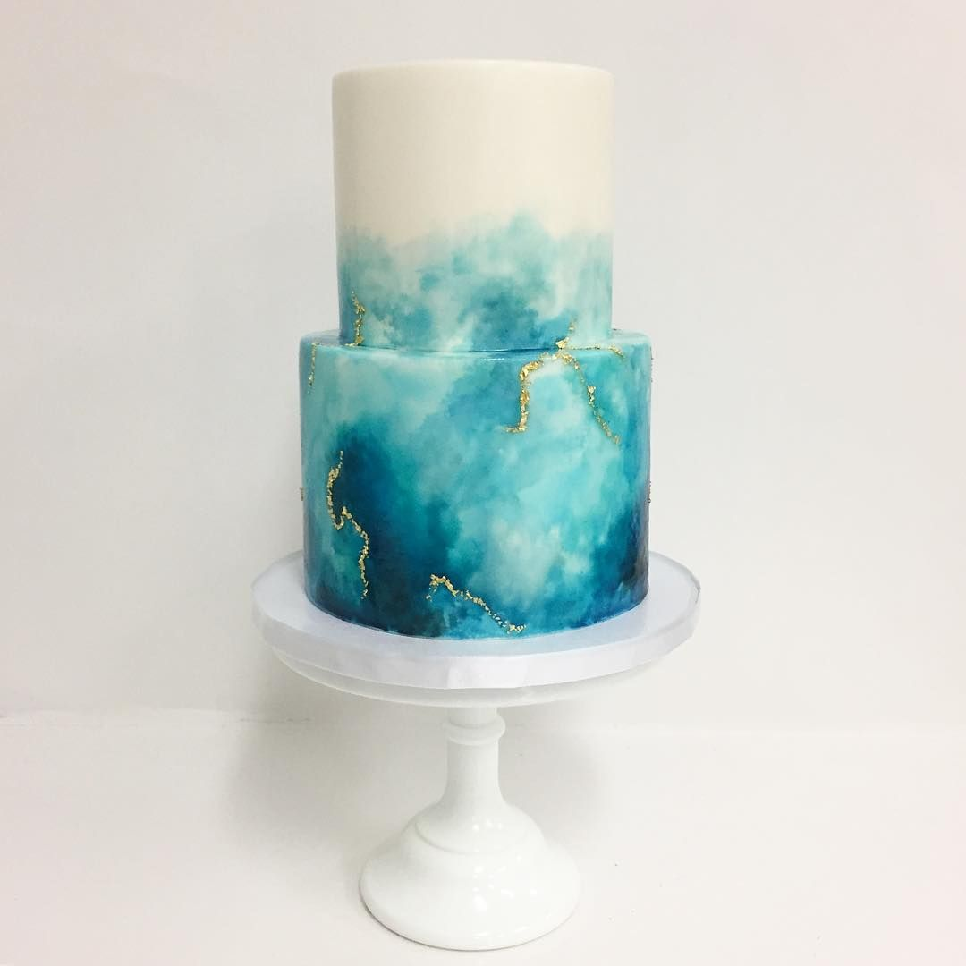 Watercolor With A Touch Of Gold Cake Dessert In 2019