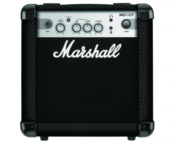 Marshall MG10CF: Marshall's MG10CF is one of the company's best-selling compact practice amps, and it can be found backstage at countless concerts. This sturdy 10-watt amp has one 6 1/2–inch speaker, Clean and Overdrive channels, an MP3/line input and a headphone jack for silent practice. STREET PRICE: $79.99