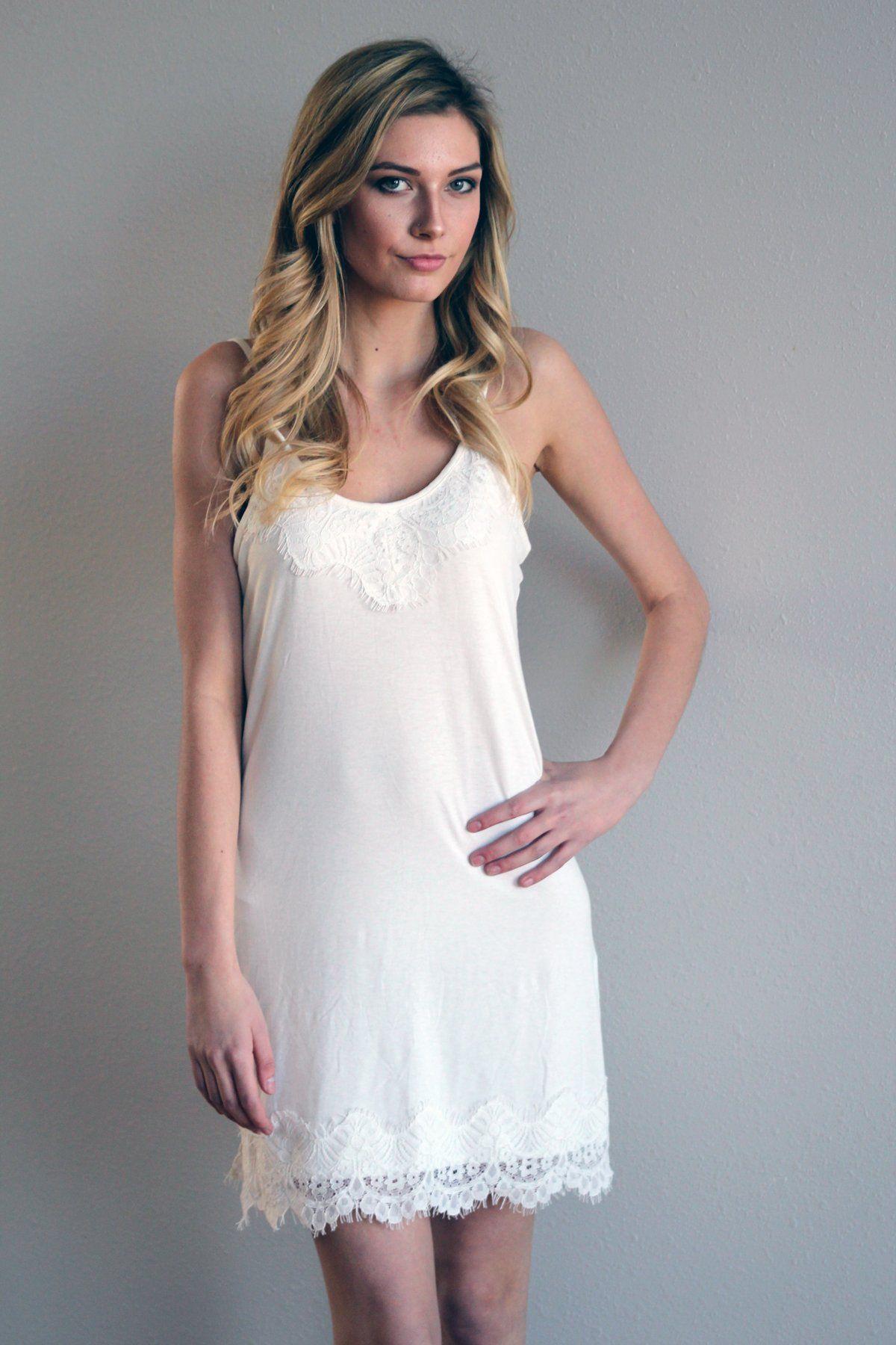 White Lace Slip Dress Lace Slip Dress White Slip Dress White Tshirt Dress [ 1800 x 1200 Pixel ]