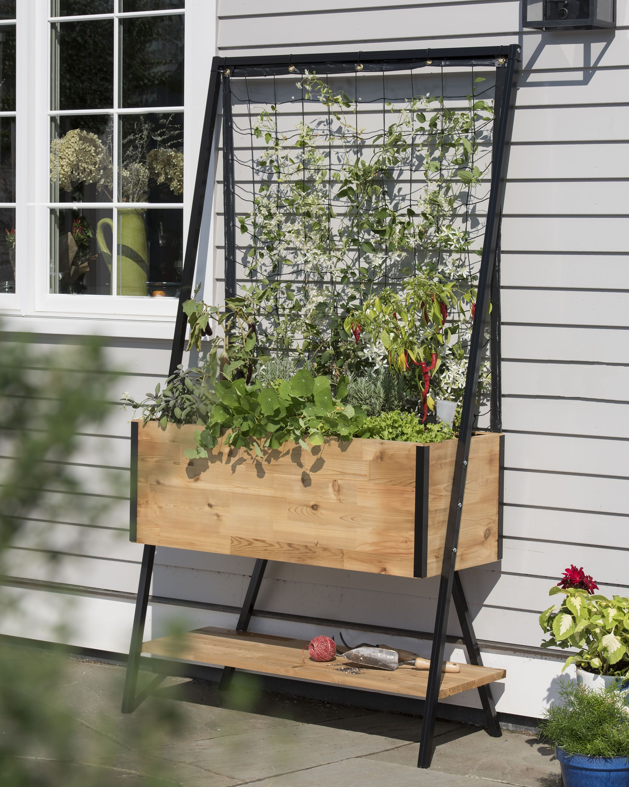 Cedar Planter Box: Apex Trellis Planter   Elevated Planter +Trellis
