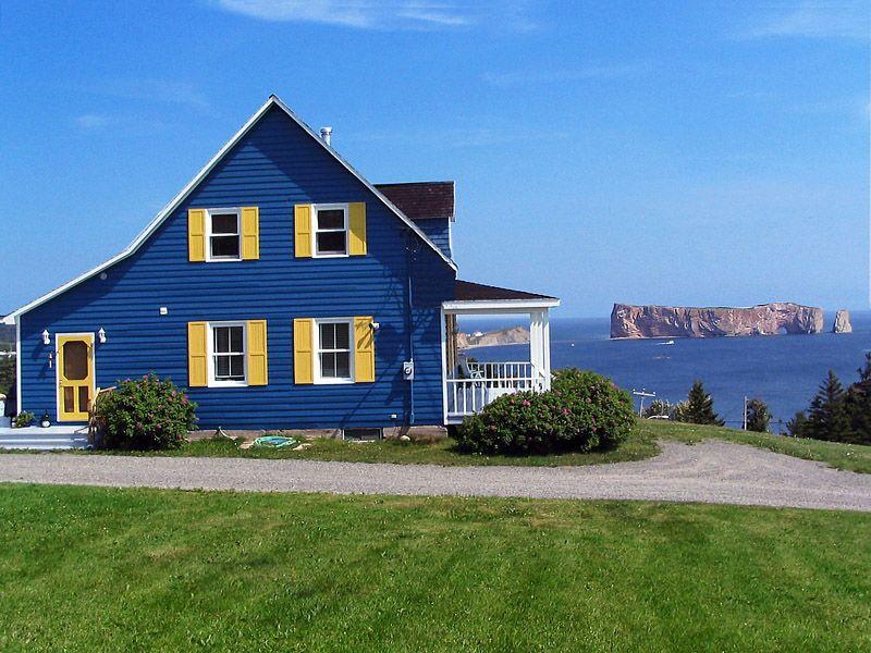 Blue House Perce Quebec Outside House Colors House