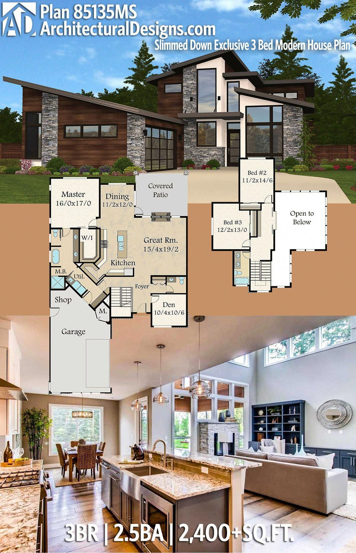 Desertrose Architectural Designs Exclusive House Plan 85135ms Has 3 Beds 2 5 Baths 2 400 Square F Modern Style House Plans House Plans Modern House Plan