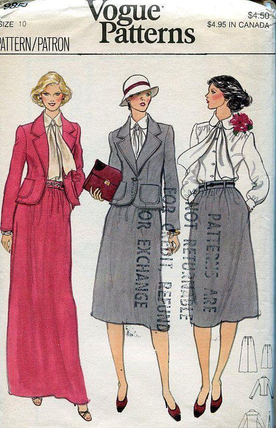 FREE US SHIP Vogue 9856 Vintage Retro 1970s 70s Suit Jacket Skirt ...