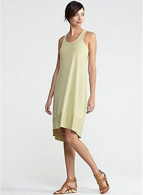 ef7239341a7 Eileen Fisher Linen Jersey Stripe U Neck Racerbak Oval Dress Citrine PL -  this color other grey citrine versions are not complementary as the peach  version!