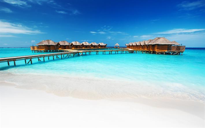 Download wallpapers Maldives, bungalow, 4k, ocean, blue ...