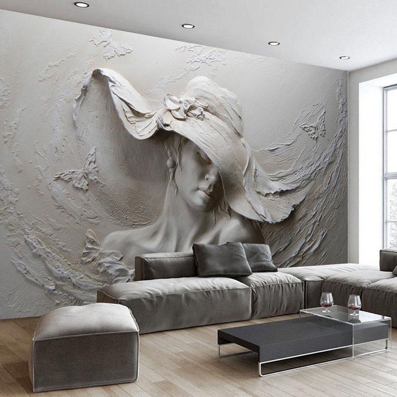 Custom 3d Pretty Lady Wallpaper Mural Plaster Wall Art Plaster Art Modern Art Abstract