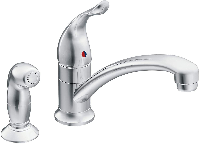 Moen 7437 Chrome One Handle Kitchen Faucet Kitchen Faucet Kitchen Handles Low Arc Kitchen Faucet [ 1082 x 1500 Pixel ]