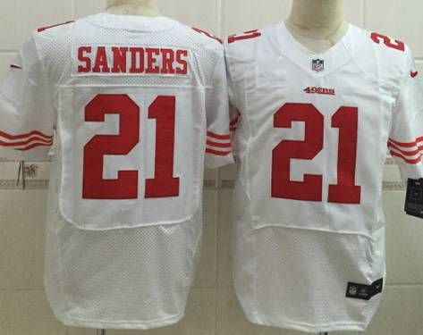 Nike San Francisco 49ers  21 Deion Sanders White Elite Jersey  eb1b6fb54