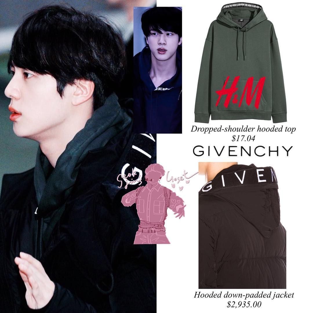 Bts 171217 Airport Jin Is Wearing H M Hoodie 17 04 Givenchy Jacket 2 935 00 Kpop Fashion Outfits Bts Inspired Outfits Bts Clothing