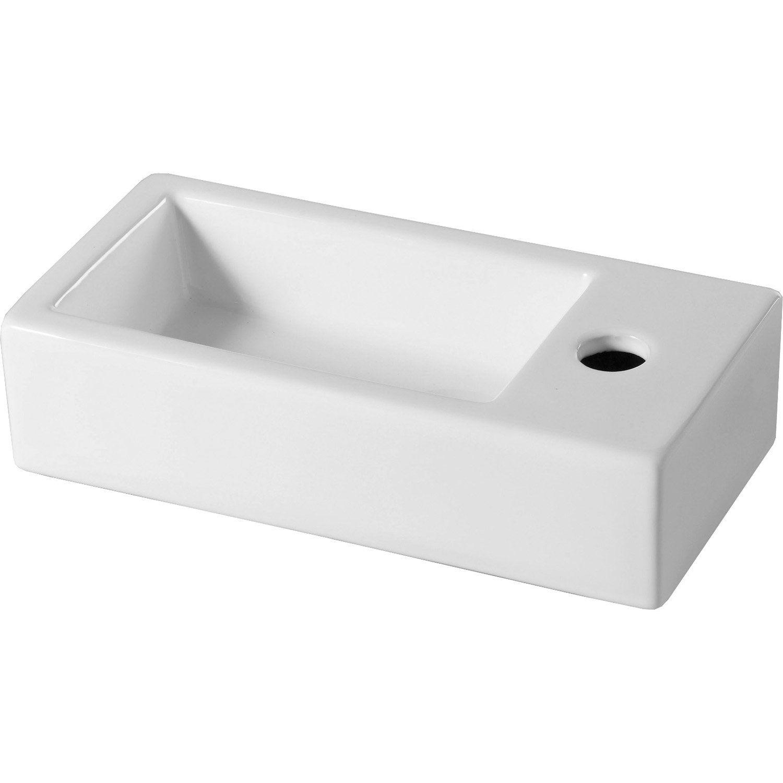 Lave Mains Ceramique Rectangle Blanc L 36 5 X P 17 5 Cm Rabat