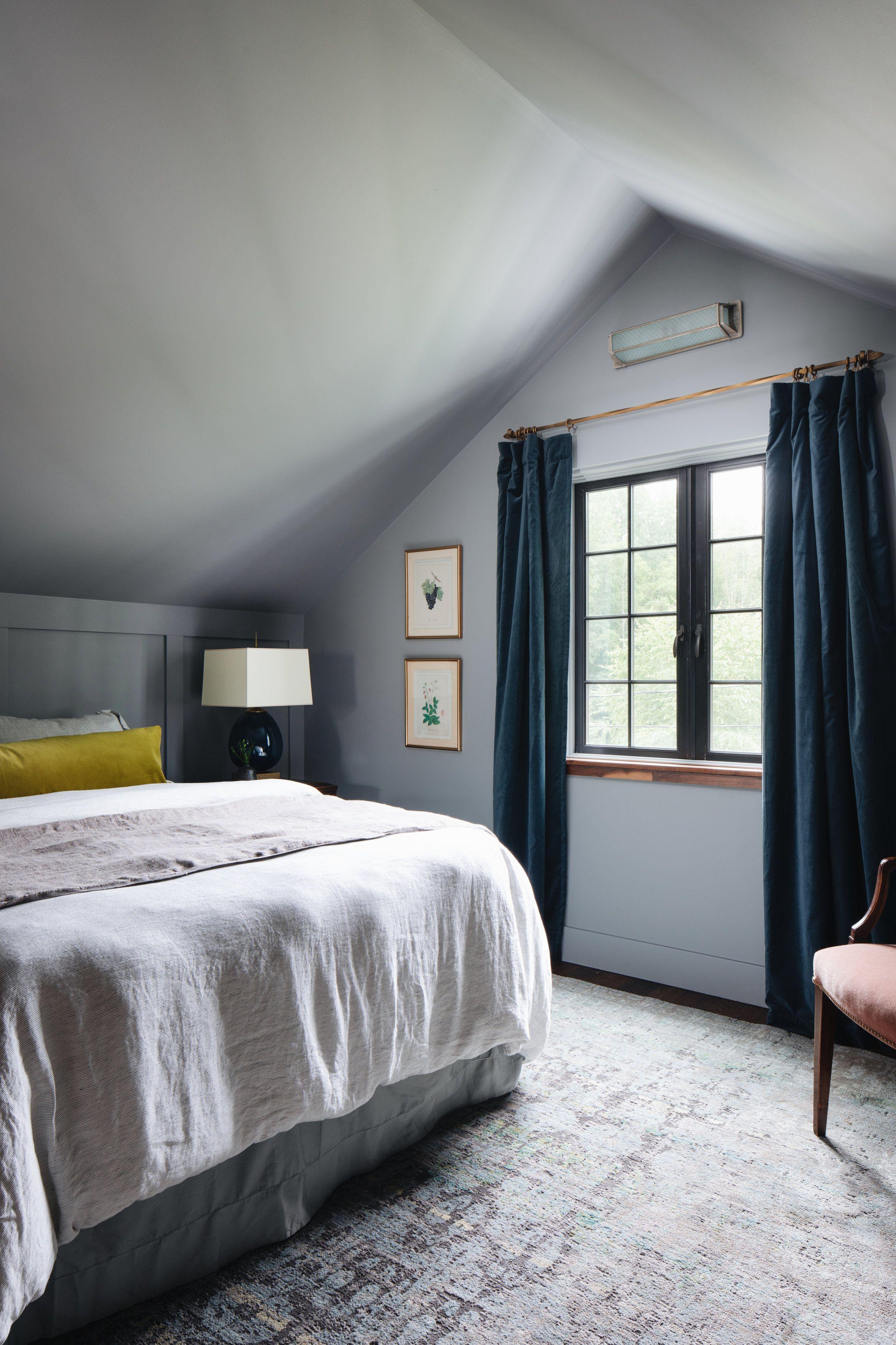 Bedroom Dark Walls Dark Curtains Dark Window Panes Linen Bedding Artwork Pillows Velvet Gray Bedroom Walls Blue Master Bedroom Blue Curtains Bedroom