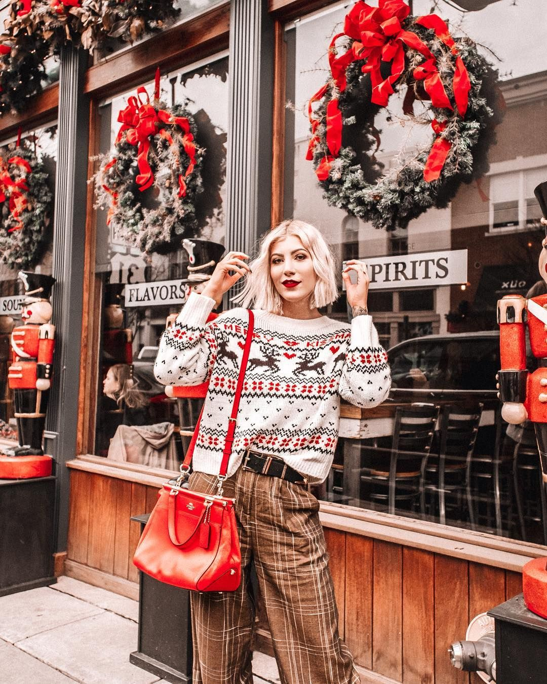 It S Beginning To Look A Lot Like Christmas Everywhere You Go I Got So Many Compliments On These Wide Leg Christmas Sweaters Sweater Fashion Fashion Photo