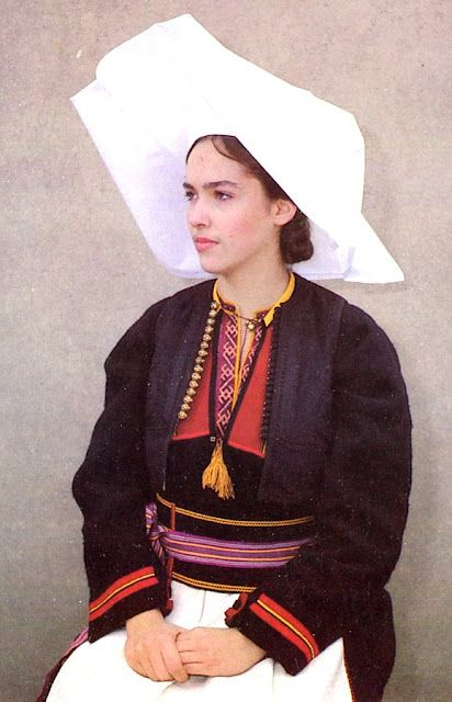 Costume of South Dubrovnik County, Konavlje, Čilipi, Dalmatia, Croatia- some of the women are dressed in black, a winter garment in wool which has a cut similar to that of the chemise.
