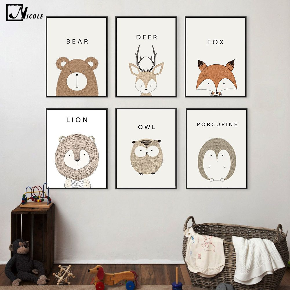 Cartoon Animal Deer Lion Bear Minimalist Art Canvas Poster Painting Nursery  Picture Print For Modern Home