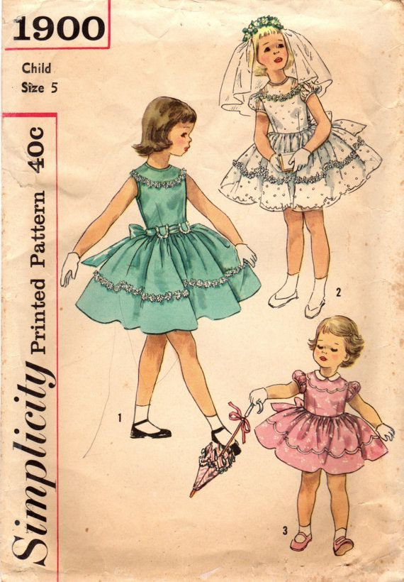 1950s Simplicity 1900 Vintage Sewing Pattern GIrl\'s Party Dress Size ...
