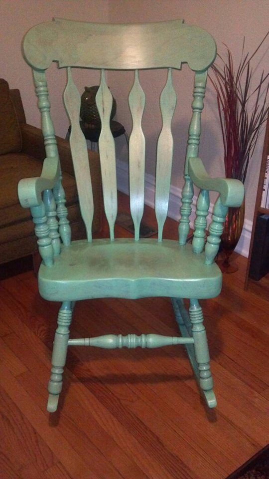 Refinished Rocking Chair With Antique Jade Stain