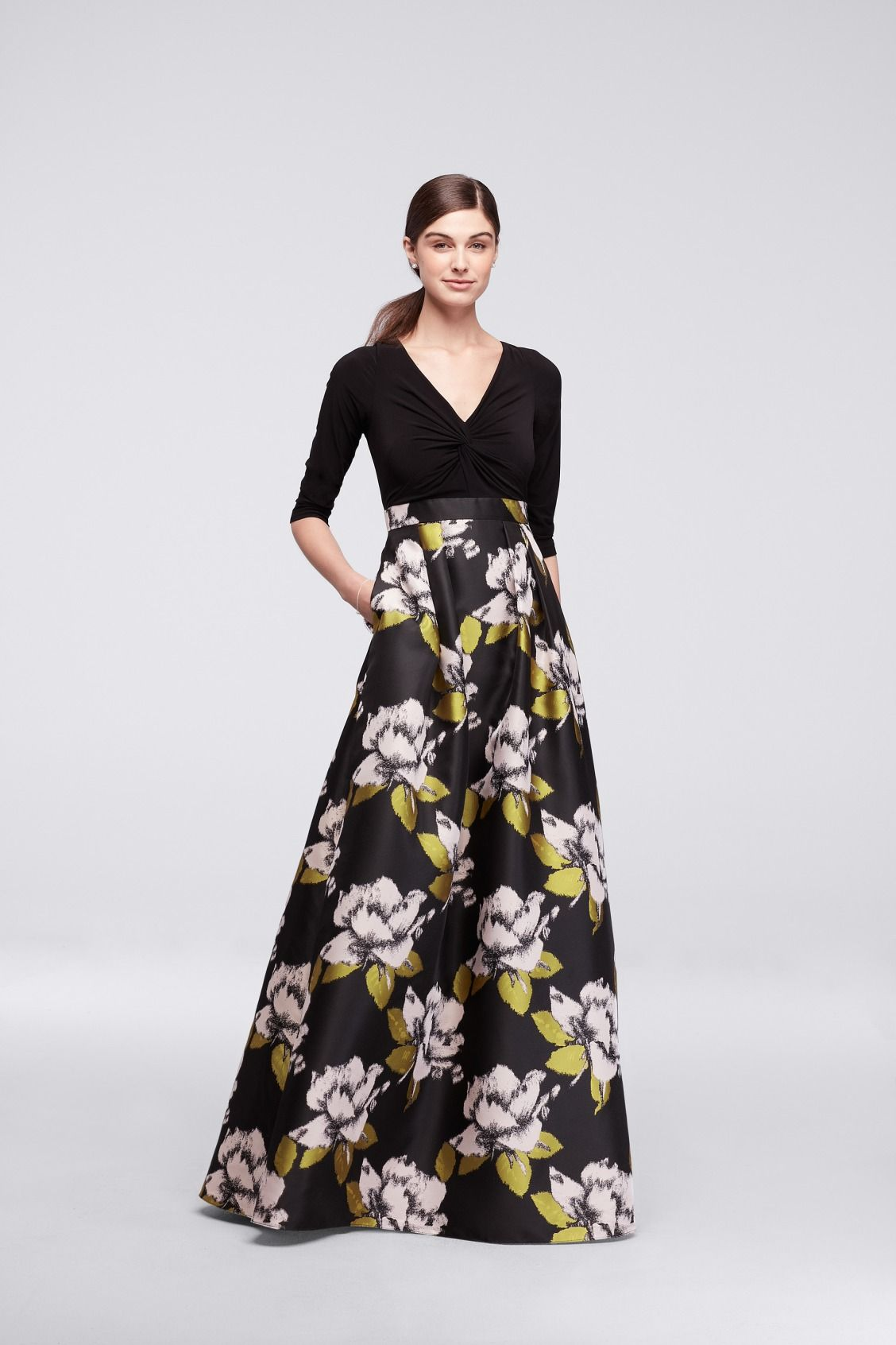 17f94bafa4c9 Long Dress with Bold Black White and Yellow Floral Skirt and 3/4 Sleeves by  Adrianna Papell available at David's Bridal