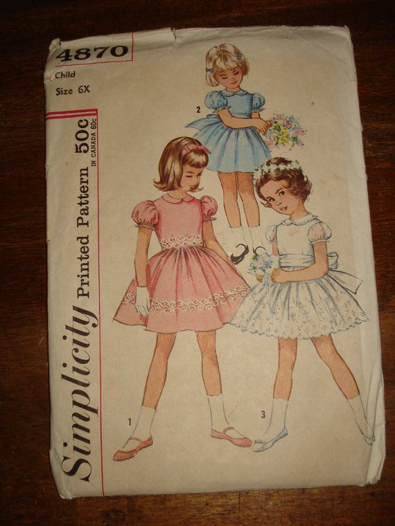 eb3eac8e6 Simplicity 4870 Childs Dress Size 6X | ropa de niños | Ropa para ...