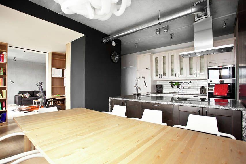 Loft W Nowym Budownictwie Loft Interior Design Loft Apartment Kitchen Loft Kitchen