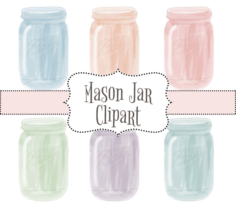 Watercolor Mason Jar Clipart Wedding Mason Jar Clipart Clipart