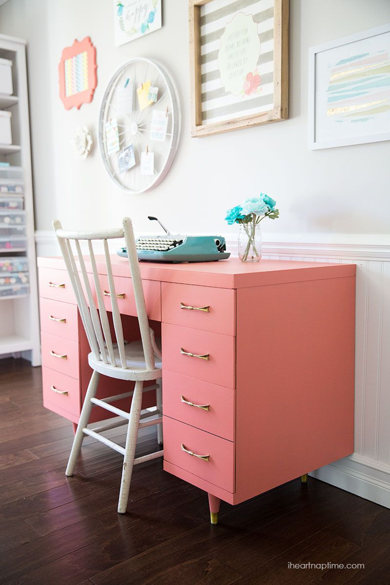 Chalk Paint Desk Makeover Painted