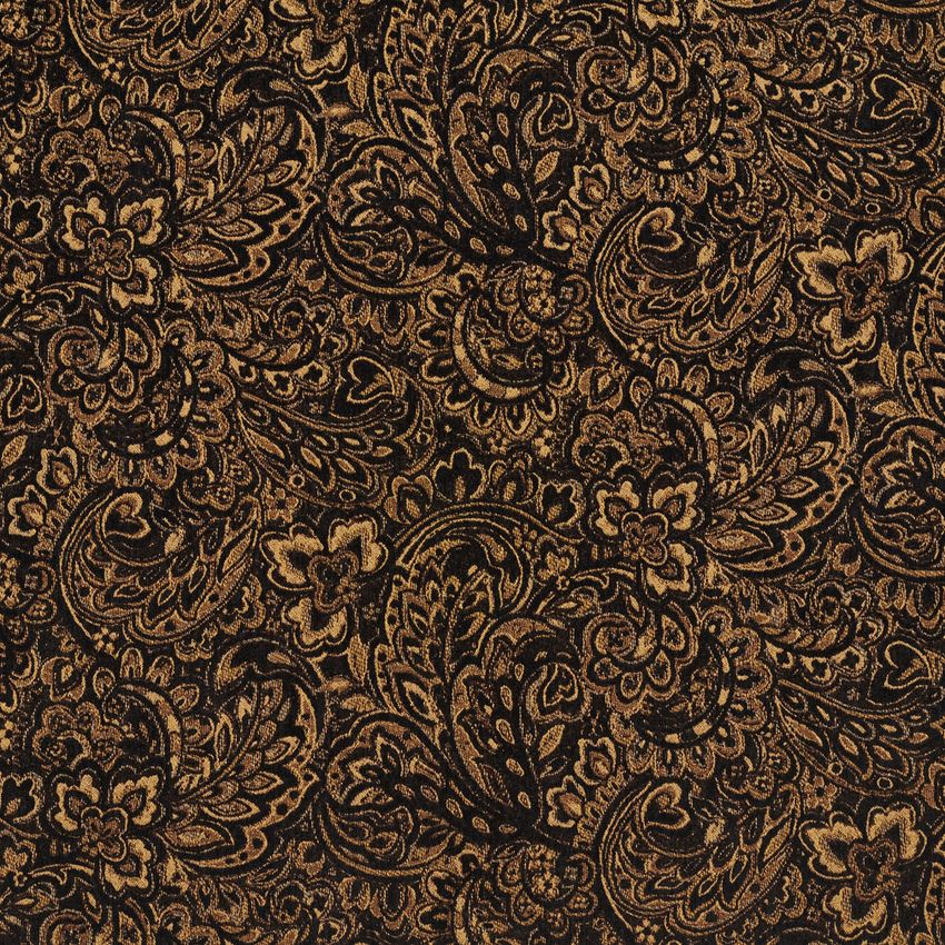 Onyx Black And Gold Large Floral Chenille Upholstery Fabric