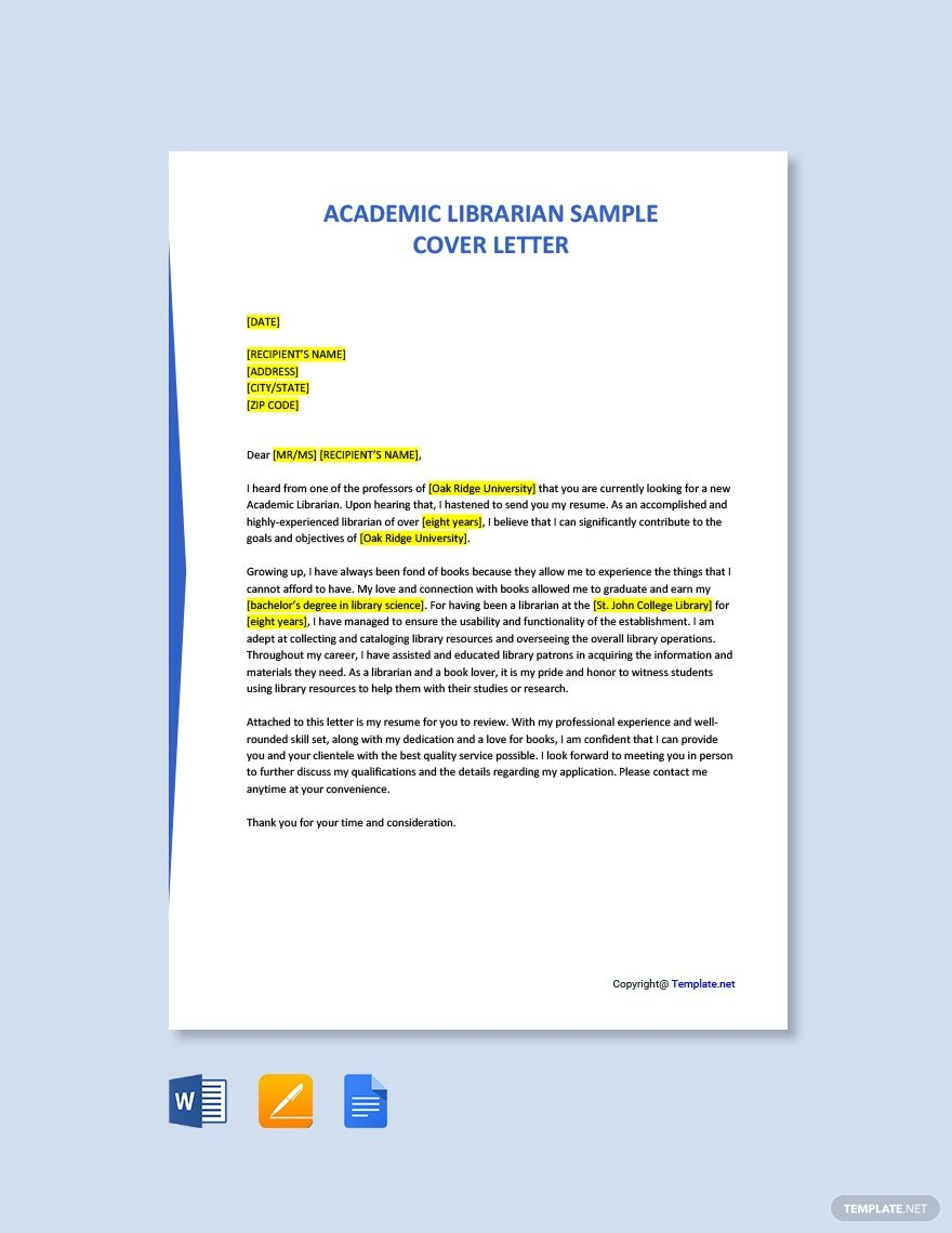 Free academic librarian sample cover letter word
