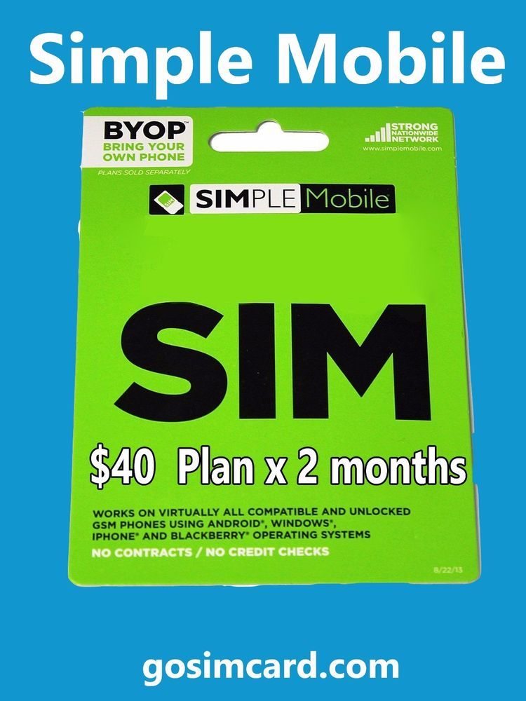 Simple Mobile Sim Card Two Month S Free Service 40 Plan X 2