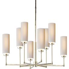 Visual Comfort TOB5016PN-NP Thomas O'Brien Large Ziyi 8 Light Chandelier in Polished Nickel with Natural Paper Shades