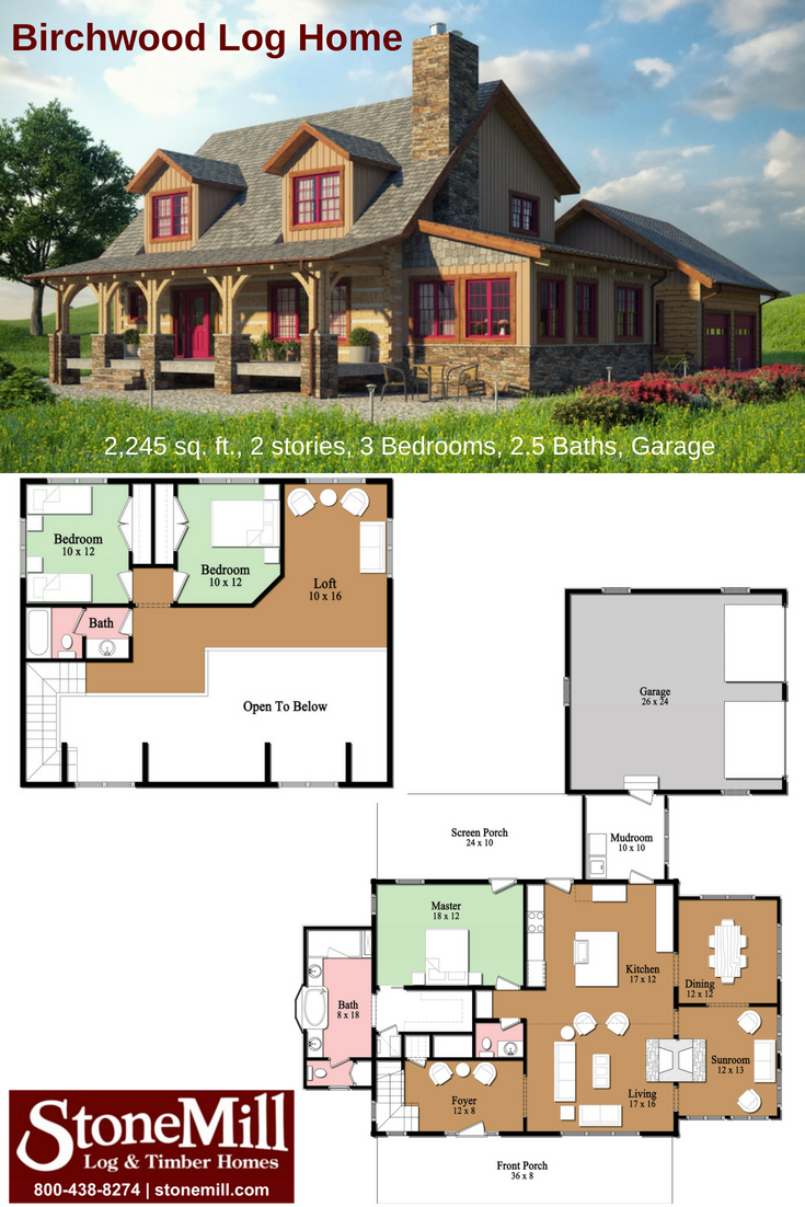 Birchwood Floor Plan | Timber house, Log homes, Log home designs