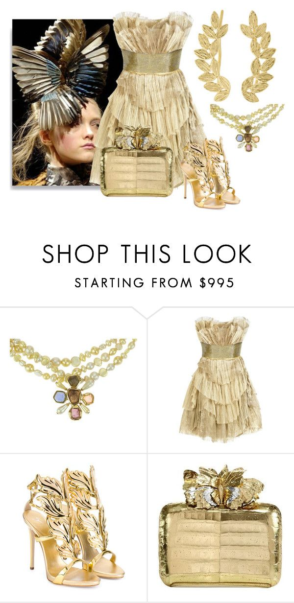 """dress"" by kim-coffey-harlow ❤ liked on Polyvore featuring Chanel, Alexander McQueen, Marchesa, Giuseppe Zanotti, Nancy Gonzalez and Eddera"