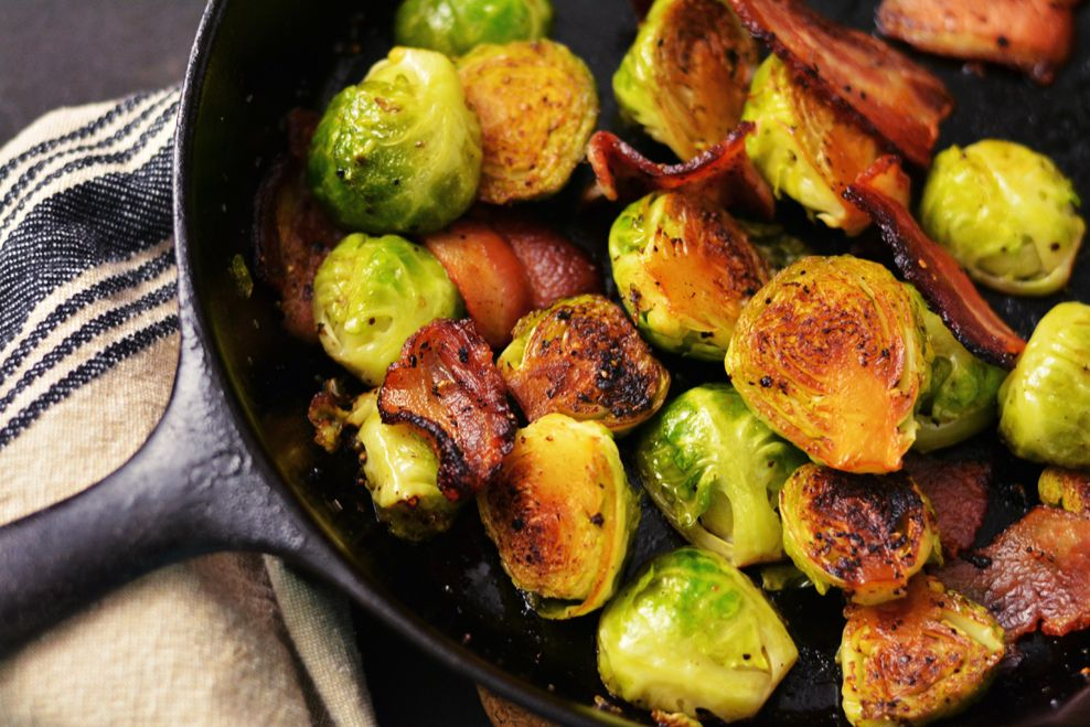 Sprouts with bacon, Sprouts and Brussel sprouts with bacon on