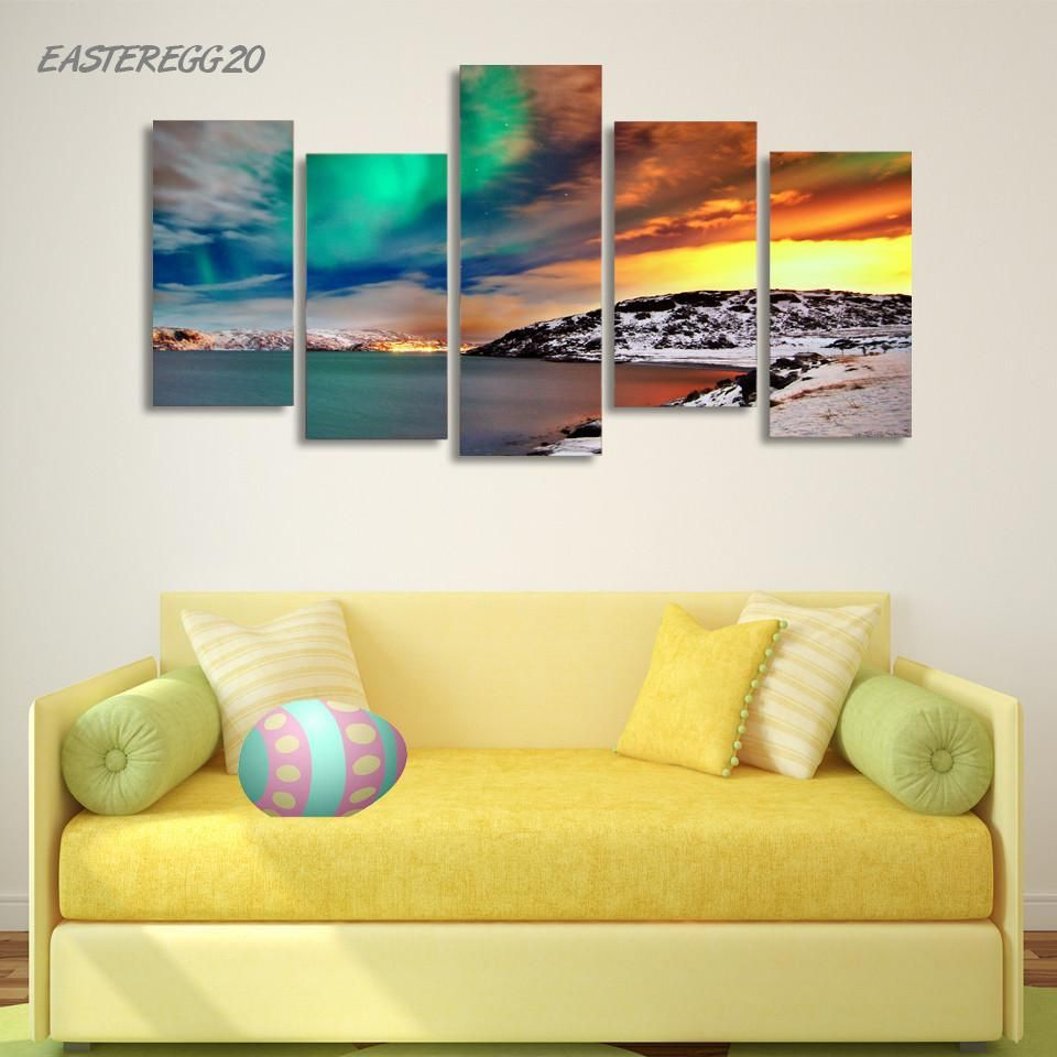 Nordic Snow Mountain Aurora Wall Art on Canvas Panel | Unsorted Misc ...