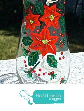 Hand Painted Christmas Vase With Poinsettias and Holly from Paint It Pretty https://www.amazon.com/dp/B0160HAFAG/ref=hnd_sw_r_pi_dp_mfLXxbJ490SBC #handmadeatamazon #christmasvase #christmasdecor #paintedvase #holidaydecor #poinsettiavase