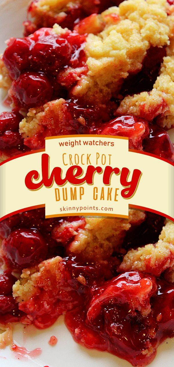 Easy Crock Pot Cherry Dump Cake #crockpotmeals