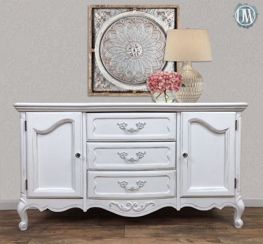 Painted In Annie Sloan Pure White With Clear Wax And Warm Gold Gilding Wax By Orginally Worn Redo Furniture Furniture Makeover Beautiful Furniture