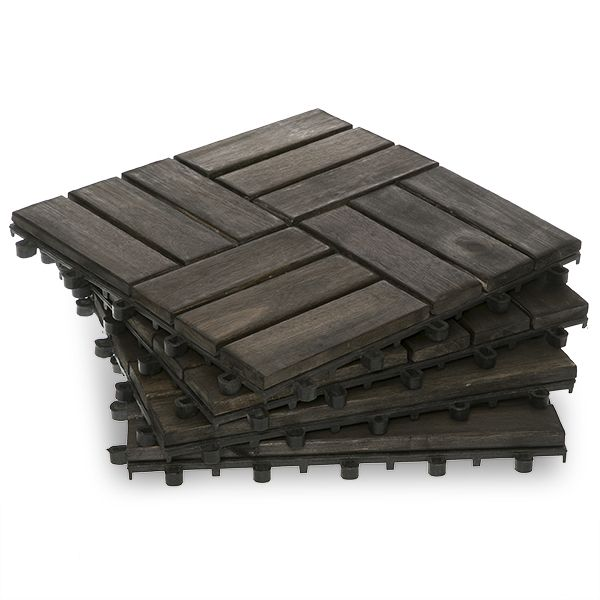Twelve Slat Mahogany Wood Deck Tiles Box Of 10
