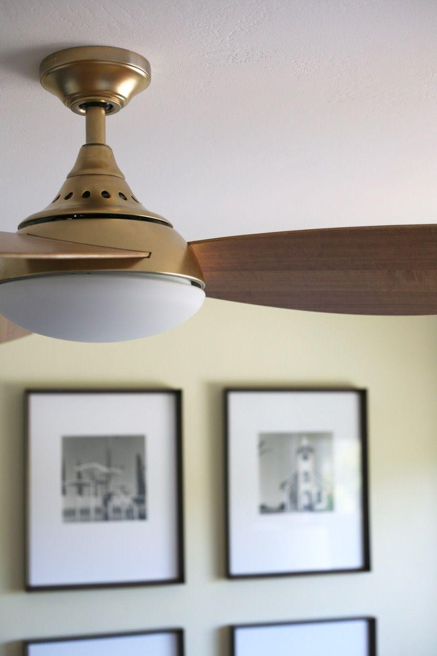 Mid Century Modern Ceiling Fan Brass Diy Spray Paint Harbor Breeze Avian Modern Ceiling Fan Living Room Ceiling Fan Ceiling Fan