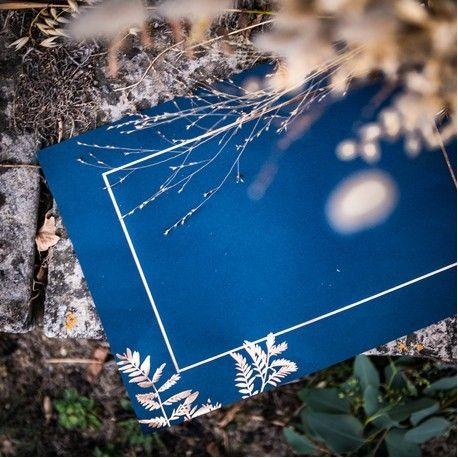 Set de table bleu marine fougère – Deco mariage champetre