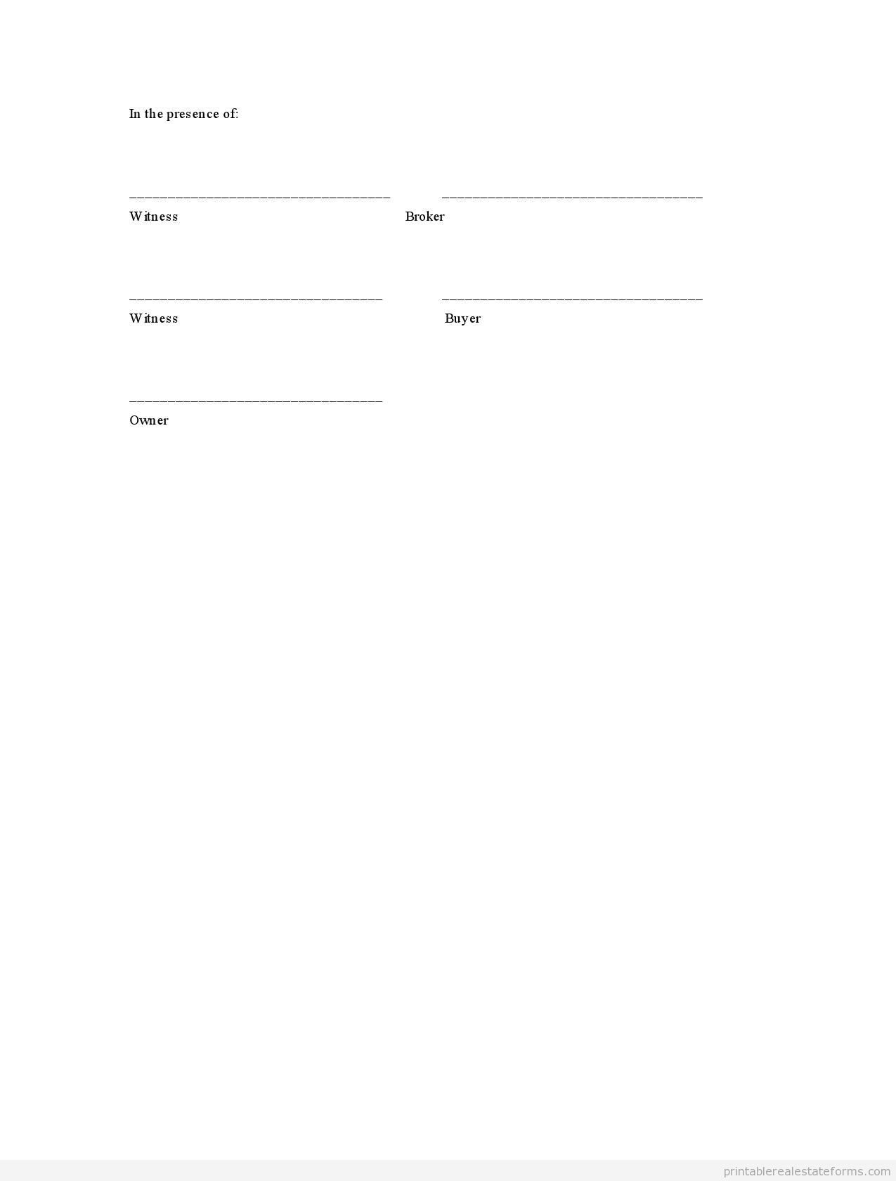 Sample Printable Offer To Purchase Real Estate Form  Sample Real