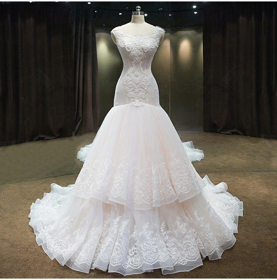 Luxury mermaid wedding dress with crystals and beadings wedding