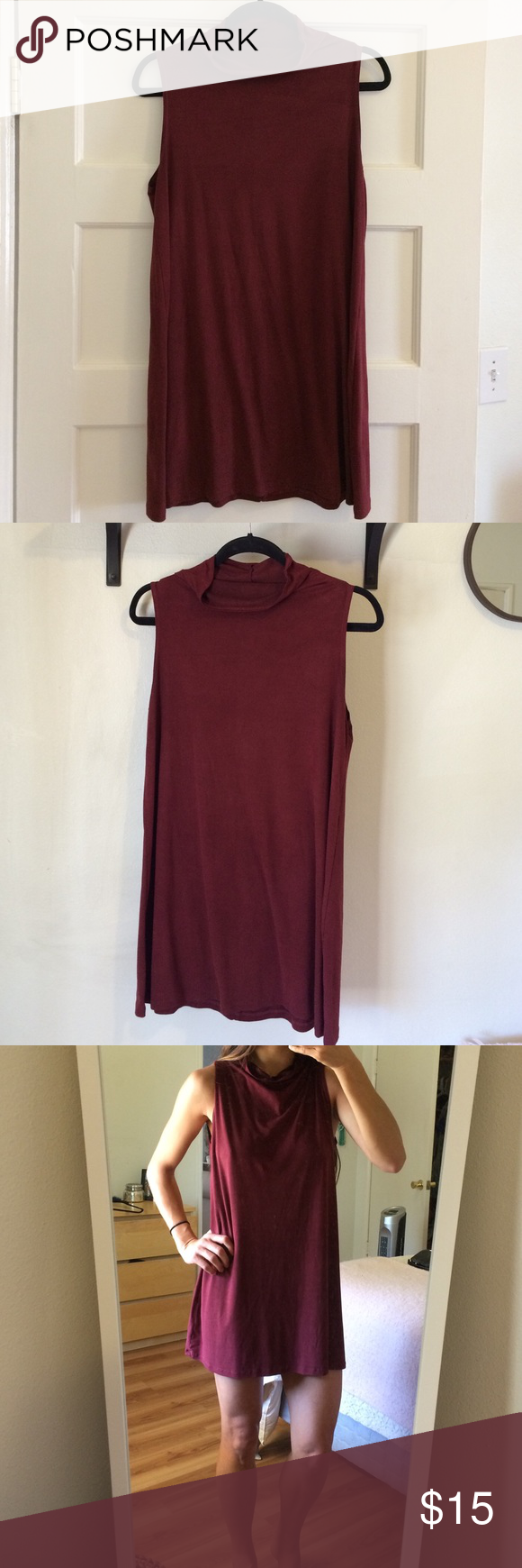 Wasabi & Mint Suede Mock Neck Dress (Maroon) The easiest coffee date dress ever! Super comfy and great with a cute bootie. The material is suede and easy to wash. Do not dry. Wash in cold water as well:) Wasabi and Mint Dresses Mini