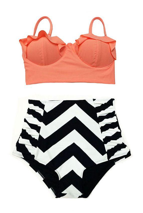 1537a79358b Old Rose Orange Midkini Top and White Black Chevron Highwaisted High  Waisted Waist Bikini Swimsuit Swimwear Bathing suit Swim Clothing S M